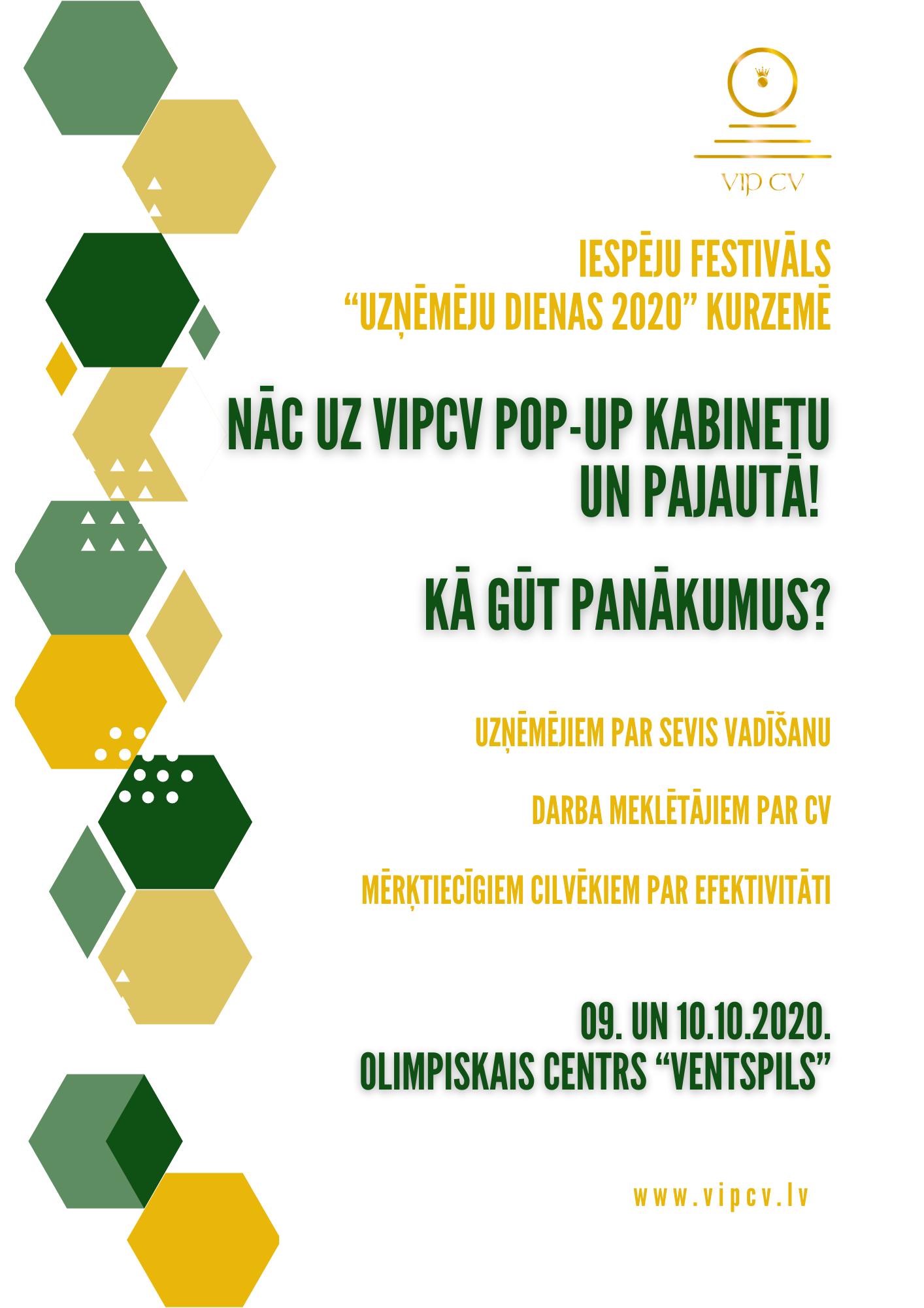 VIP CV ciemosies ar POP-UP kabinetu Ventspils Uzņēmēju dienās 2020